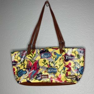 Sakroots Yellow Brown Bird Love Peace Tote Purse